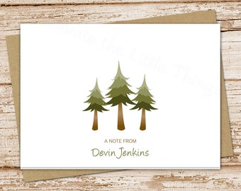 personalized tree note cards . pine tree notecards . folded personalized stationery . evergreen trees . camping forest woodlands . set of 8