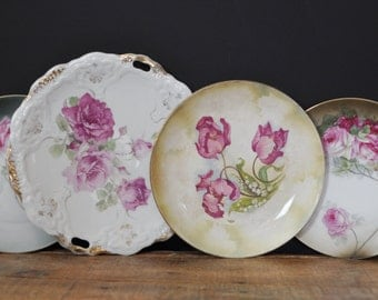 Vintage Mismatched China Floral Plate Lot Home Decor Display 4 Piece Set Shabby Chic