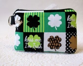 Handmade small pouch with zipper - key ring - green clover- lucky me green - small gadgets bag - credit cards storage - ready to ship