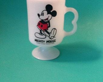Mickey Mouse Walt Disney Milk Glass Mug 8oz