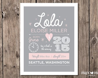 Birth Announcement Poster, Made to order, Custom, Baby Girl - 8x10in