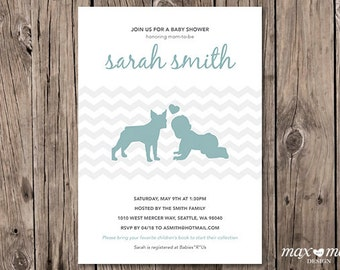 Boston Terrier Baby Shower Invitation, Made to order, Custom  - 5x7in