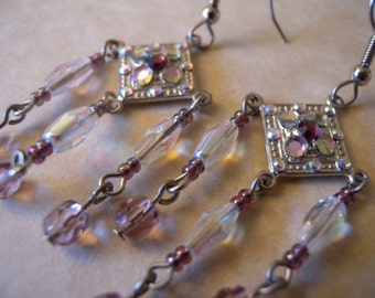 SALE - Chandelier Earrings in AB Crystal and Purple Glass Beads