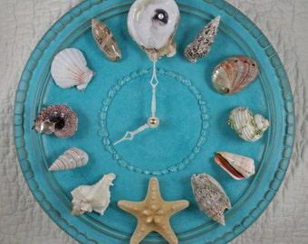 Seashell Wall Clock - Carribean Turquoise