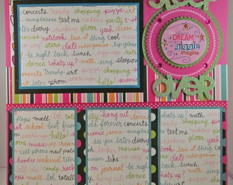 SLEEP OVER 12x12 Premade Scrapbook Page Layout Girls Pajama Party