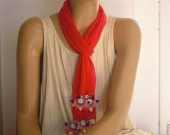 coral crepe scarf with crochet star shapes