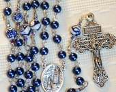 Blue Hand-painted Rosary