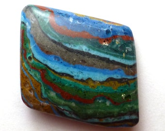 Rainbow Cal Silica Cabochon Free Form Shape Beautiful Color Striations Striped False Fordite Designer Handcut Jewelry Ring Yellow Red Blue
