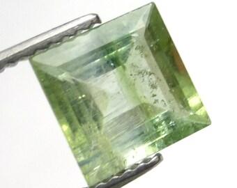 Bicolor Tourmaline Loose Gemstone Bi Color Princess Square Cut Rare One of a kind Handmade Fantasy Cut Designer Engagement Ring Green Mint