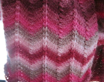 Pink Zig Zag Dr Who Scarf Long, Wide and Warm