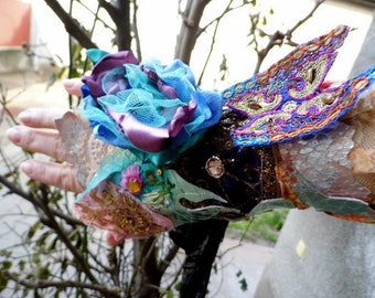 Cuff, gypsy cuff, dragon cuff, game of thrones,beaded, lace cuff,boho, faery punk,steampunk, lace up ,women, beaded cuff, flowers and silk