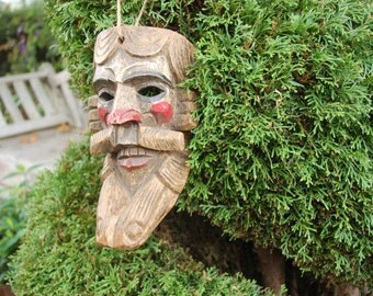 Guatemalan Wood Mask ~ Pedro de Alvarado Mask ~ Spanish Conquistador Carving Highlighted w/ Red Devil Paint ~ Dimensional Detailed Carving