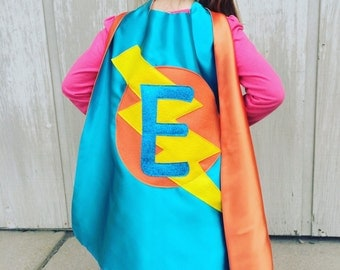 Free mask sale - Kids Superhero Personalized with your childs initial - CUSTOMIZED Cape - Personalized gift - Kid gift pretend play costume