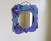 Shabby chic bohemian wall mirror, decorative mirror, boho chic wall art, country cottage, lilac rose mirror, gypsy caravan mirror, floral