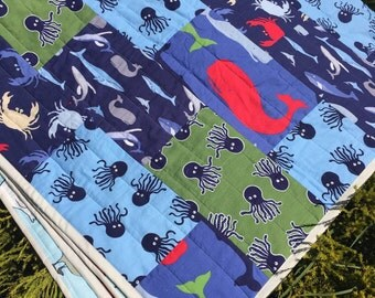 Sea life blue and green gender neutral Lap Quilt