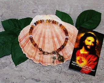 Sacred Heart Catholic Bracelet - Shades of Honey and Amber - Crystal Jewelry - Gift for Women