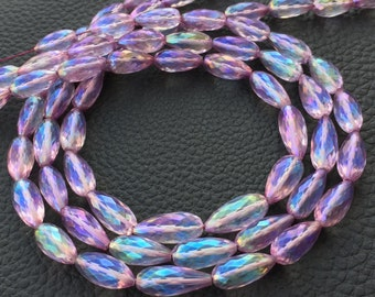 WOW,Brand New, Mystic Rainbow Purple-Blue Shaded Quartz Faceted Full Drilled Drops Shape Briolettes,Full 8 inch Strand