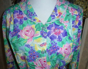 NWTOS 70s Vintage Nancy Frock Pastel Floral Tie Waist Dress Long Sleeve Inverted Pleat  L Large
