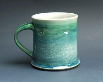 Pottery coffee mug, ceramic mug, stoneware tea cup jade green 14 oz 3533