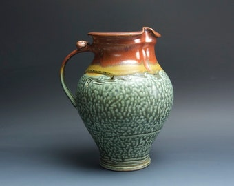 Handcrafted pottery pitcher, stoneware vase 74 plus oz. 3571