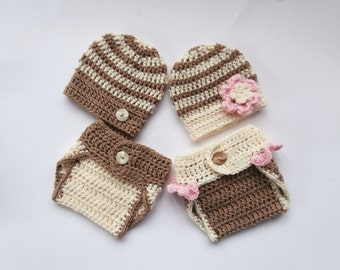 Baby Twins Hospital Outfits_ NewBorn Baby Girl Twin Outfits _ Newborn Crochet Baby Twin Outfits _Photography Outfit Baby Twins