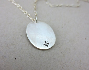 Sterling Silver Oval Pendant Flower Motif Necklace