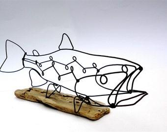 Trout Wire Sculpture, Fish Wire Art, Minimal Wire Design,
