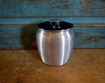 Spun Aluminum Tea Canister Vintage 1950's