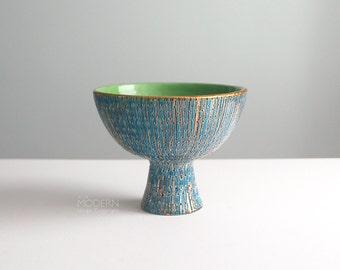 Bitossi Seta Italian Blue Gold Green Compote Footed Vase by Aldo Londi
