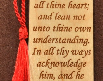 Wood Scripture Bookmark - Proverbs 3:5-6