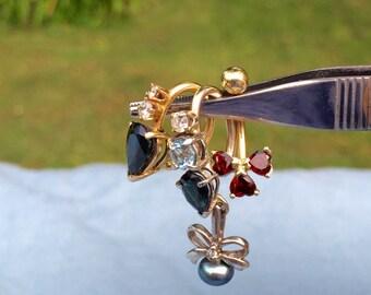 Layaway available 3 genuine gemstone and diamond 14 karat gold belly navel rings