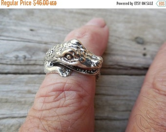 ON SALE Gator ring in sterling silver