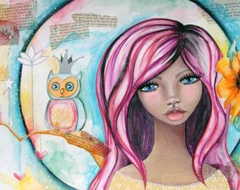Giclee Fine Art Archival Print ~ Luna Owl ~ Mixed Media Art ~ By Kim Costello