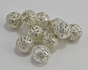 Silver plated filigree beads, 10mm - #1840