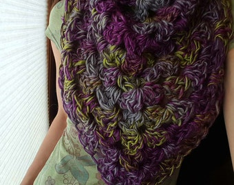Hand Crochet Cowl Wrap in Eggplant and Lime