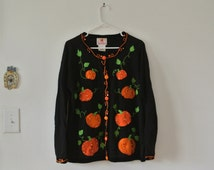 Vintage Halloween Sweater - Ugly Halloween Sweater - Fall Button Down Cardigan - Size Large
