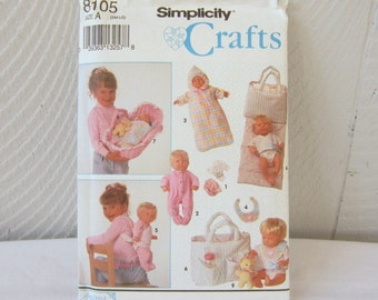 Pattern Simplicity 8105 S8105 Baby Doll Accessories. Baby Doll Clothes Bassinet Clothes Toy and More. Bitty Baby Large Baby Dolls. New Uncut