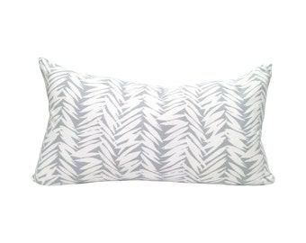 Graphic Lumbar Pillow Cover, in Blue/Grey + White