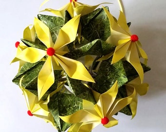Kusudama Geosphere with Glorioza flowers