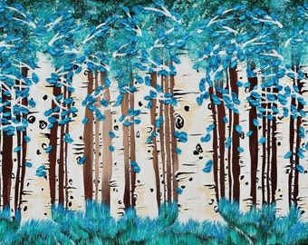 Turquoise Forest Fine Art Giclee Print of Original Painting Impasto Palette Knife Art Trees Birch Blue Leaves Modern Aspen Landscape Birches