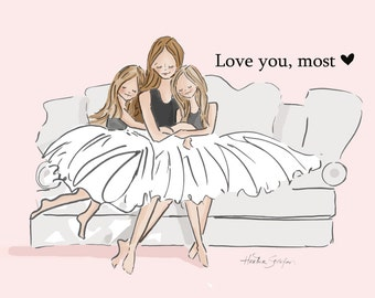 Planner Page - A6 LOVe You Most ( 2 Daughters)  -   Digital Planner Print -  Digital Art Print -  Wall Art -- Print