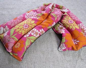 Pink Flowers Reusable Rice Neck Heating Bag