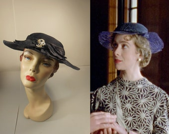 Secret Marriage of Ruth Chevernix - Vintage 1930s Navy Straw Wide Brim Hat w/Pave Floral Pin