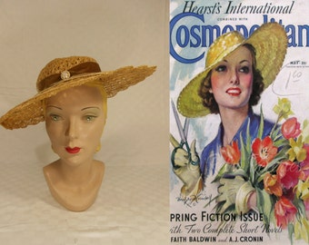 Summer Time Shade - Vintage 1930s Natural Colour Cello Straw Wide Brim Hat w/Faux Pearl Detail