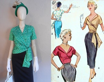 We'll Need More Gin - Vintage 1950s Kelly Green Polka Dot Blouse w/Side Swoop Sash - 2/4