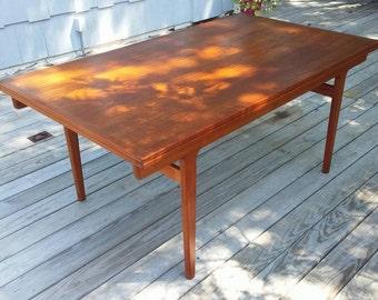 Vintage Mid Century Danish Modern Sliding Teak Extension Leaf Dining Room Table
