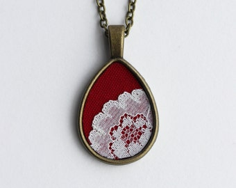 Valentine's Day Gift Red Necklace, Lace Teardrop Pendant, Cotton Fabric, Unique Bridesmaid, Women, Wife, Anniversary, Boho Wedding Jewelry