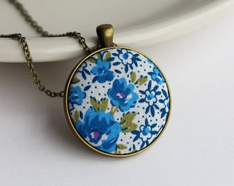 Blue and White Jewelry, Floral Fabric Pendant, Blue Boho Jewelry, Flowers Dots, Hippie Necklace, Cute Jewelry, Cotton, Unique Gift for Women