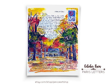 October Rain: Paris Letters, October, A letter about sitting under the canopy of a café in autumn and listening to the rain fall