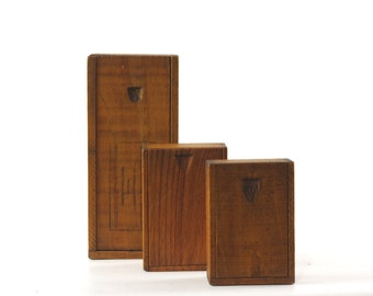 Vintage Wood Box with Sliding Lid, Wooden Box with Cover, Small Wood Box, Set of Three